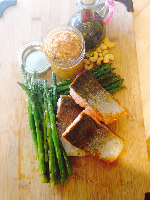 NZ Olive Oil Recipes: Crispy Skin BBQ Salmon with Grilled Asparagus