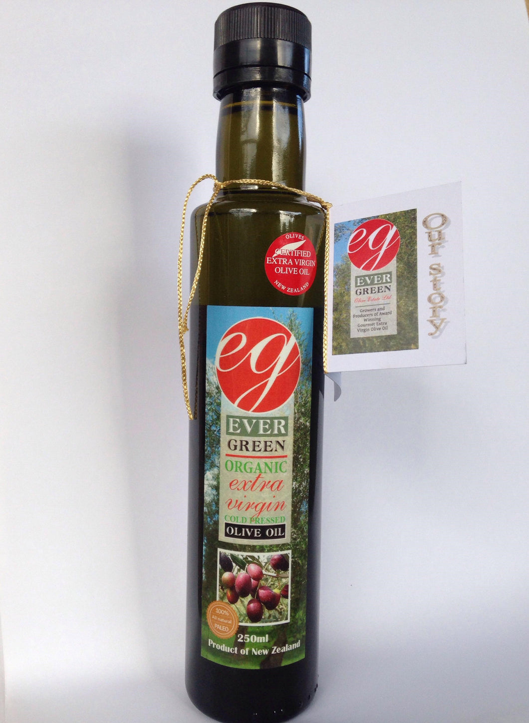 Evergreen, 250ml Premium Organic Extra Virgin Olive Oil, Kaikohe, NZ - twisted-tree-nz-olive-oil