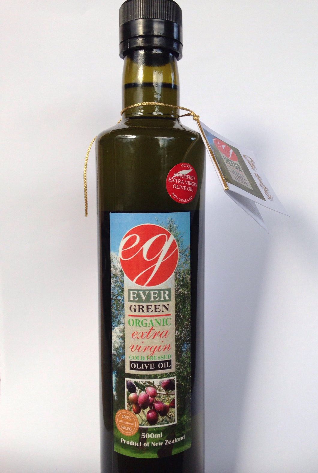 Evergreen, 500ml Premium Organic Extra Virgin Olive Oil, Kaikohe, NZ - twisted-tree-nz-olive-oil