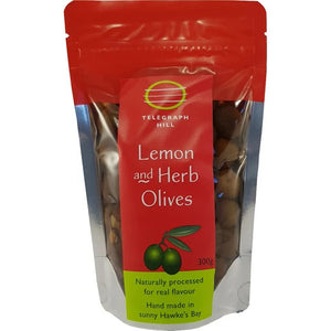 Telegraph Hill, 300g Lemon and Herb Marinated Olives, Hastings, NZ - twisted-tree-nz-olive-oil