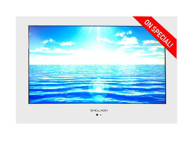 "19"" Waterproof Television /  Full HD LED Mirror/White/Black 12V/24V/240V - Englaon Australia"