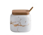 White Nordic Marbled Ceramic Seasoning Jars