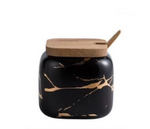 Black Nordic Marbled Ceramic Seasoning Jars