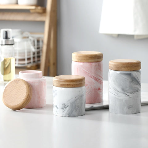 Marble Ceramic Storage Jars