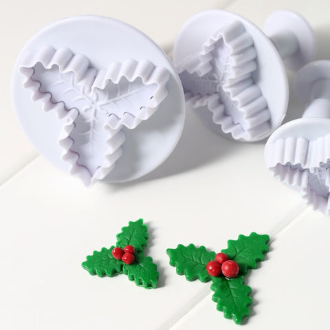 2 Pcs Holly Leaves Fondant Plunger