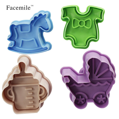 4 Pcs Baby Cookies Stamp Mold