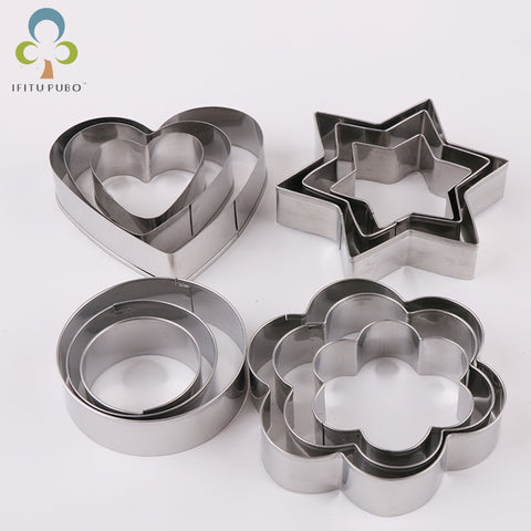 12pcs/set Star/Heart/Flower Cookie Cutter Mold