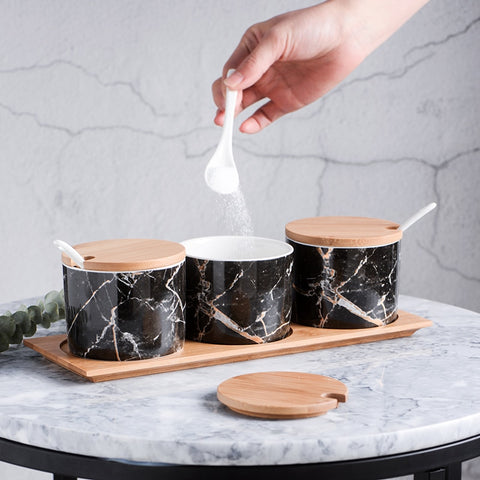 Marble Spice Jars 3pcs Set