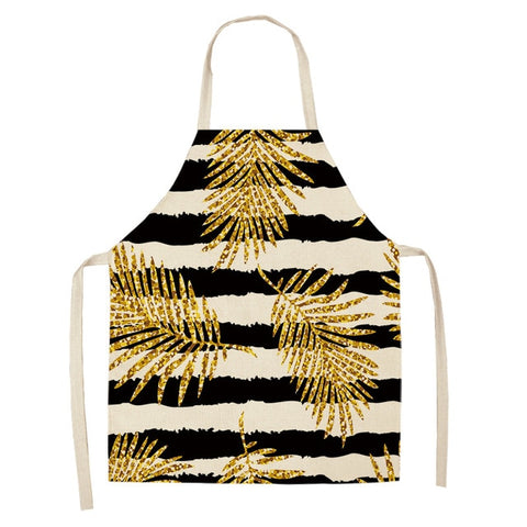 Golden Leaves Print Kitchen Apron