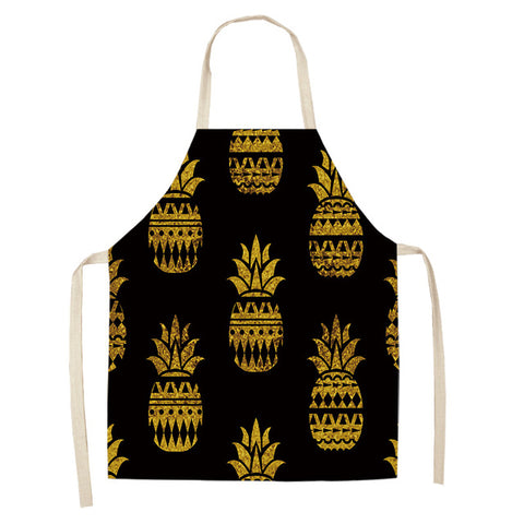 Golden Pineapple Print Kitchen Apron