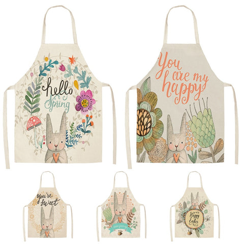 Lovely Cartoon Rabbit Printed Aprons