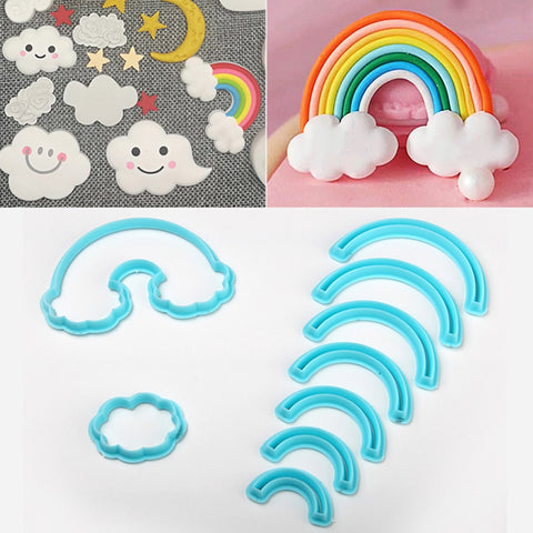 Rainbow Fondant Cookie Cutter 9cps/set