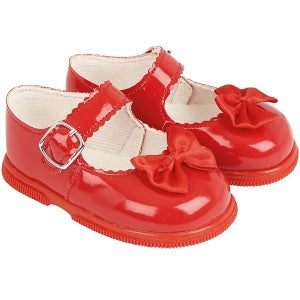 Girls Red Patent Satin Bow Special Occasion Shoes
