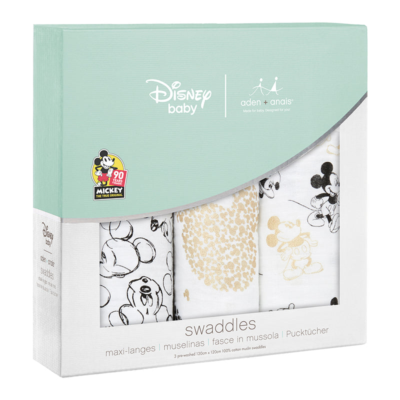 90TH Anniversary Micky Mouse Swaddles 3 pack