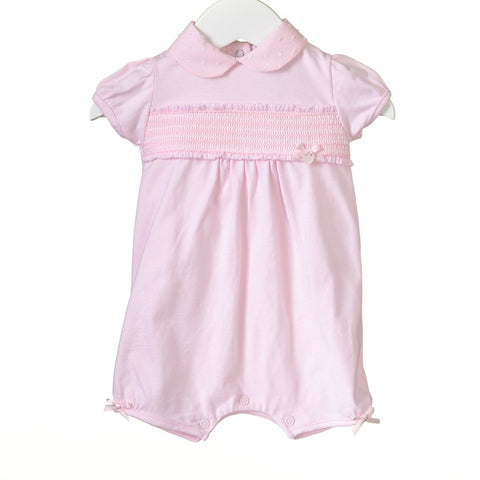 GIRLS PINK SMOCKING ROMPER