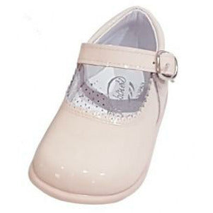 Baby Mary Janes in patent Bambi pink 457