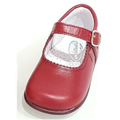 Baby Mary Janes in leather Bambi cherise 457