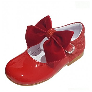 MARY JANES IN PATENT AND GLITTER WITH VELVET BOW BAMBI 5032 RED