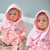 Personalised Twins Soft Baby Dressing Gowns In Pink
