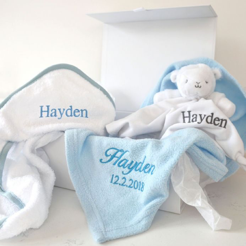Personalised Blue Blanket, Towel, Comforter Baby Hamper