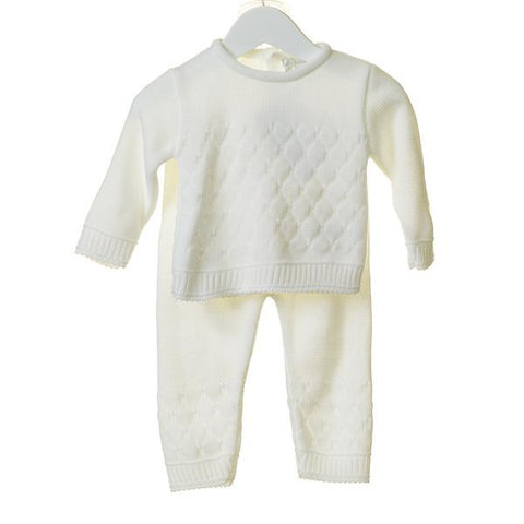 UNISEX WHITE BOBBLE KNIT 2PC SET