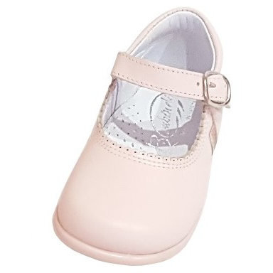 Baby Mary Janes in leather Bambi pink 457