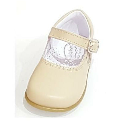 Baby Mary Janes in leather Bambi camel 457