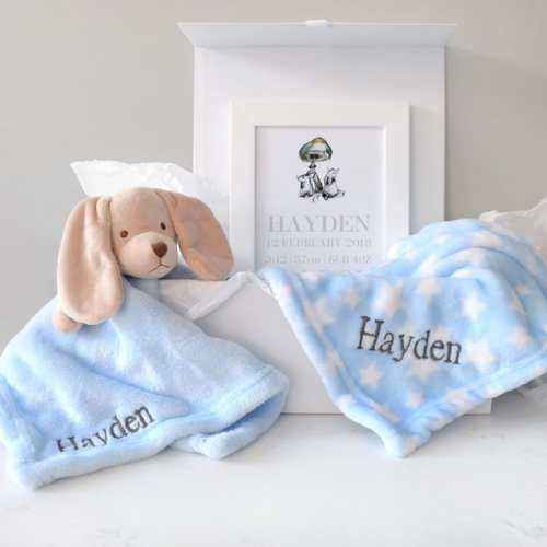 Personalised Blanket, Puppy Comforter, Art Baby Hamper