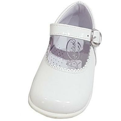 Baby Mary Janes in patent Bambi white 457