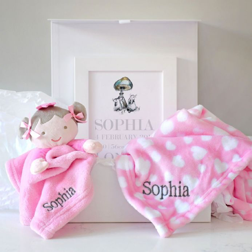 Personalised Blanket, Dolly Comforter, Art Baby Hamper