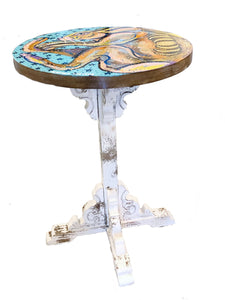 Birth Of The Hare - Hand Painted Accent table (HAND PAINTED) Heather Freitas