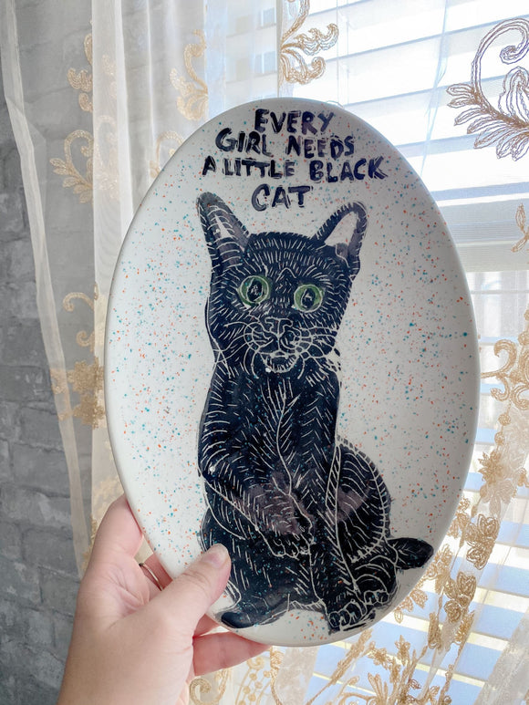 Black Cat Tray Heather Freitas