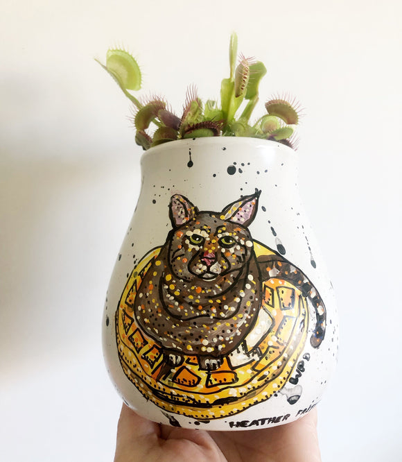 Cat waffle 5inch planter pot Heather Freitas