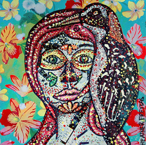 Dia Tahitian Red-Billed Rail - day of the dead inspired original painting Heather Freitas