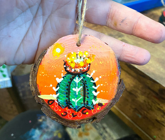 Fire Red Cactus ornament ( small ) Heather Freitas