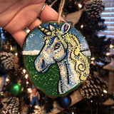 Hand Painted Wood Slice Ornament- It's in the Stars (LARGE) Heather Freitas