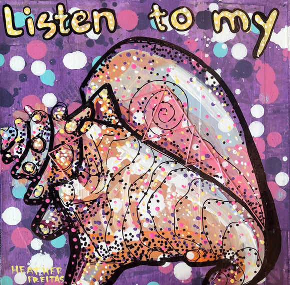 Listen to my conch - Original humor pop art feminist quote painting Heather Freitas