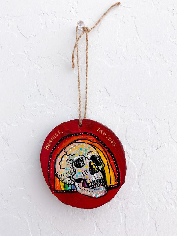Rainbow Skull Study Ornament Heather Freitas