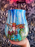 Sky Blue & Hummingbirds - 7inch Planter Pot Heather Freitas