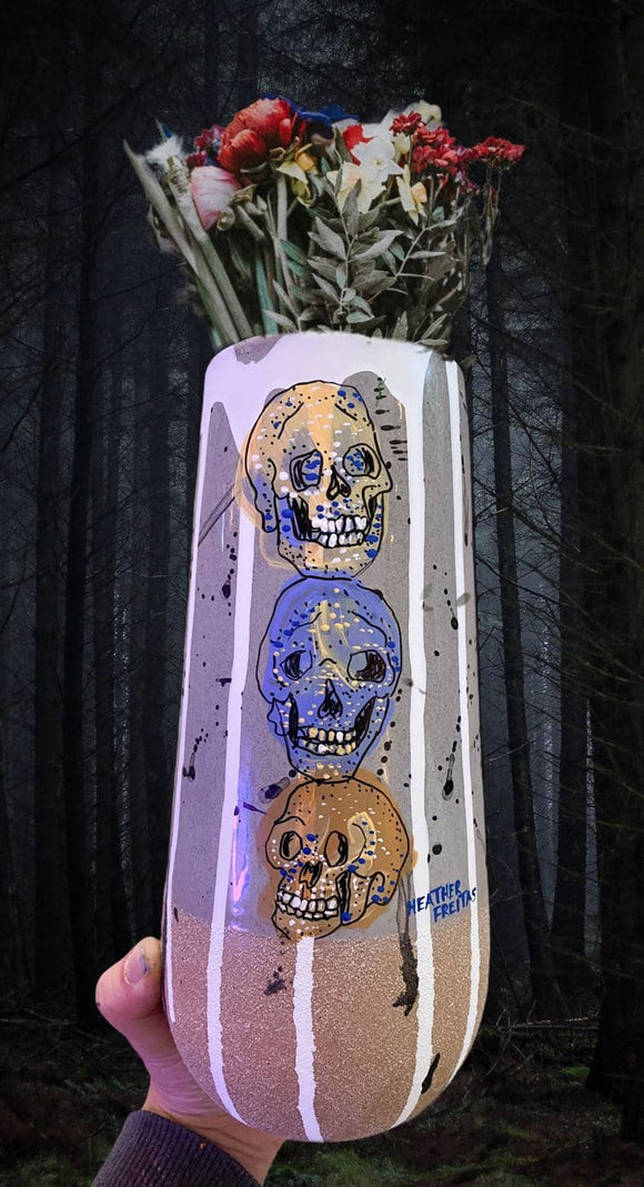 Stacking Skulls - Hand Painted Vase Heather Freitas