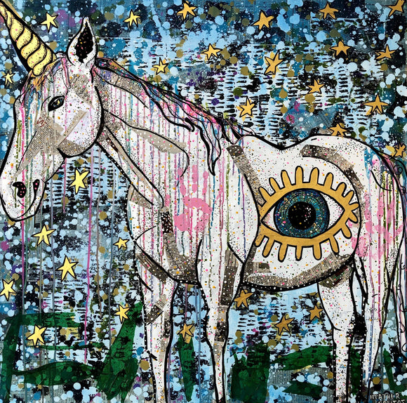 Unicorns, Evil Eyes & Twilight Skies- Embelished Print Of The Week ( Edition of 7) Heather Freitas