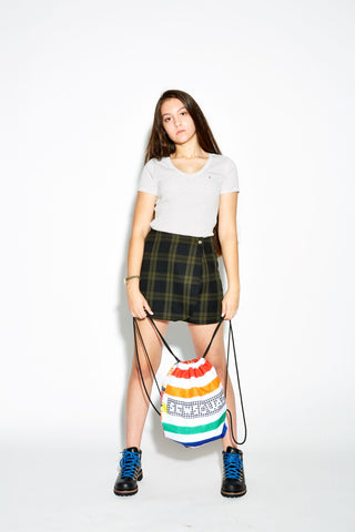 Rainbow Plaid Drawstring Bag