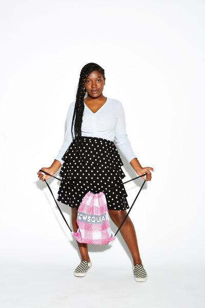 Pink Gingham Drawstring Bag