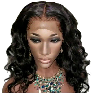 13x6 Brazilian Bouncy Curly Remy Short Human Hair Wigs With Baby Hair Lace Front Bob Wig  With Pre Plucked Hairline