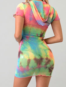 Taylor tie dye mesh swim cover up