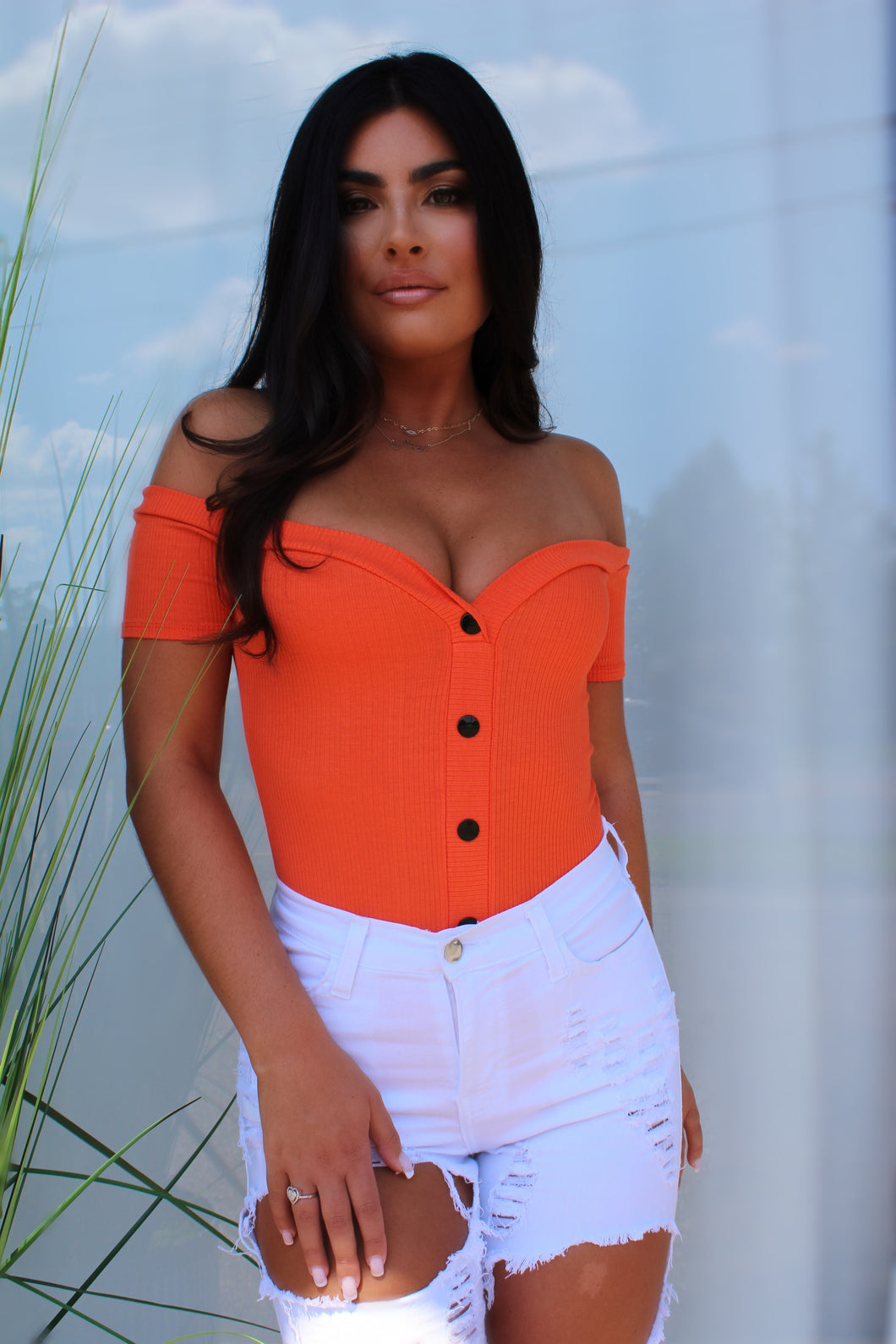 Chloe orange bodysuit