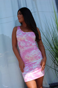 Tiffany tie dye mini dress- pink