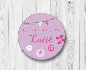 badge-bapteme-moulin-a-vent-rose