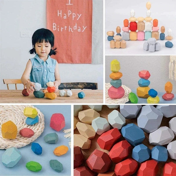 Picoloty™ - Rainbow Wooden Stacking Stones