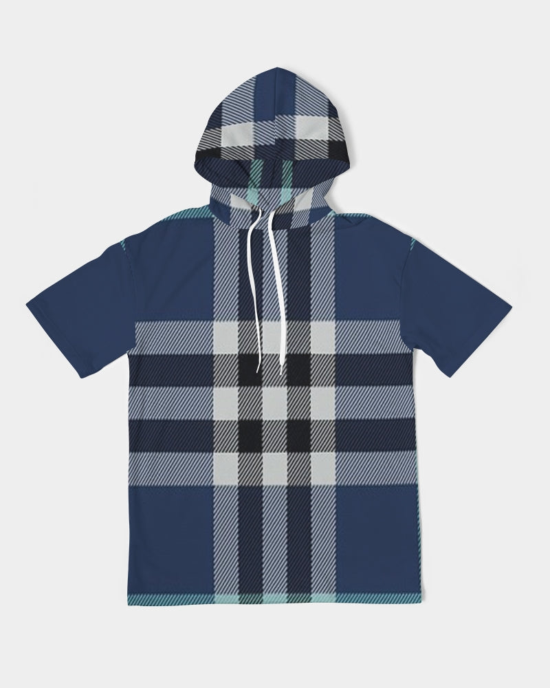 Allno Blue Berry Plaid Men's Short Sleeve Hoodie